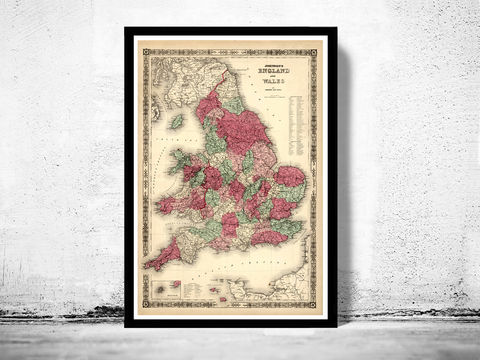 Old,Map,of,England,and,Wales,1865,UK,Art,Reproduction,Open_Edition,city,vintage,plan,London,United_Kingdom,Scotland,Ireland,Britannia,old_map,england_map,map_of_england, wales and england, map of wales, map of england, wales poster, england poster