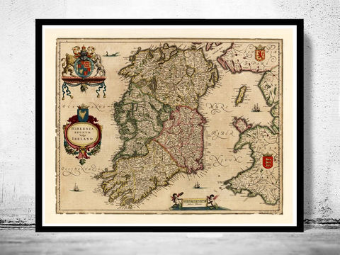 Vintage,Map,of,Ireland,1640,Beautiful,Antique,map,with,gravures,maps reproductions, old maps for sale,Art,Reproduction,Open_Edition,United_Kingdom,old_map,map_of_ireland,ireland_map,medieval,irish,ireland_poster,vintage_map,antique_ireland_map,vintage_ireland,dublin,ireland_retro, map of ireland