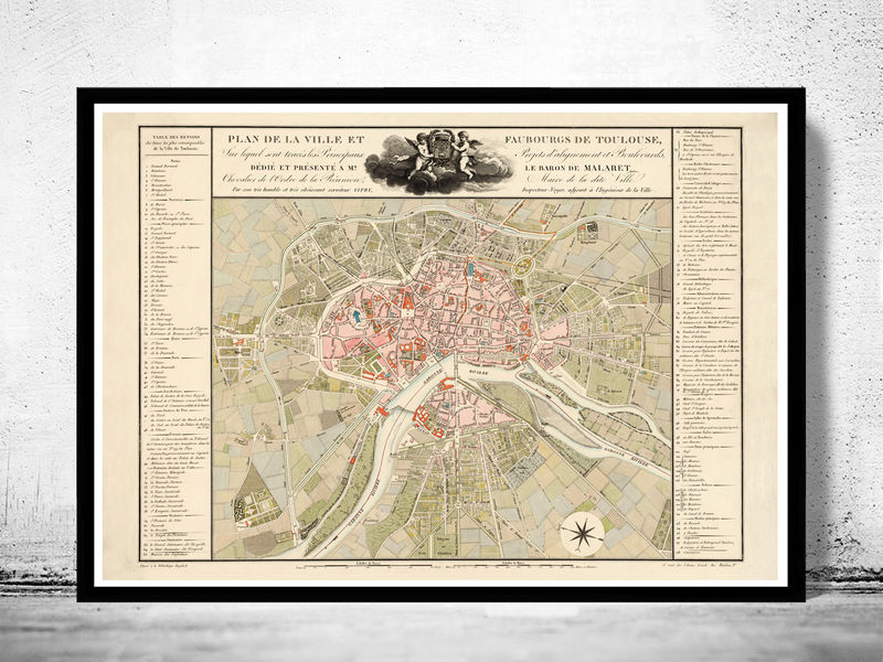 Old Map of Toulouse  France 1850 - product image