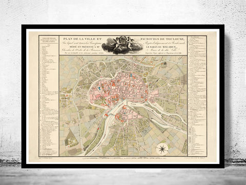 Old,Map,of,Toulouse,France,1850,Vintage,toulouse, toulouse france, toulouse map, map of toulouse, toulouse poster