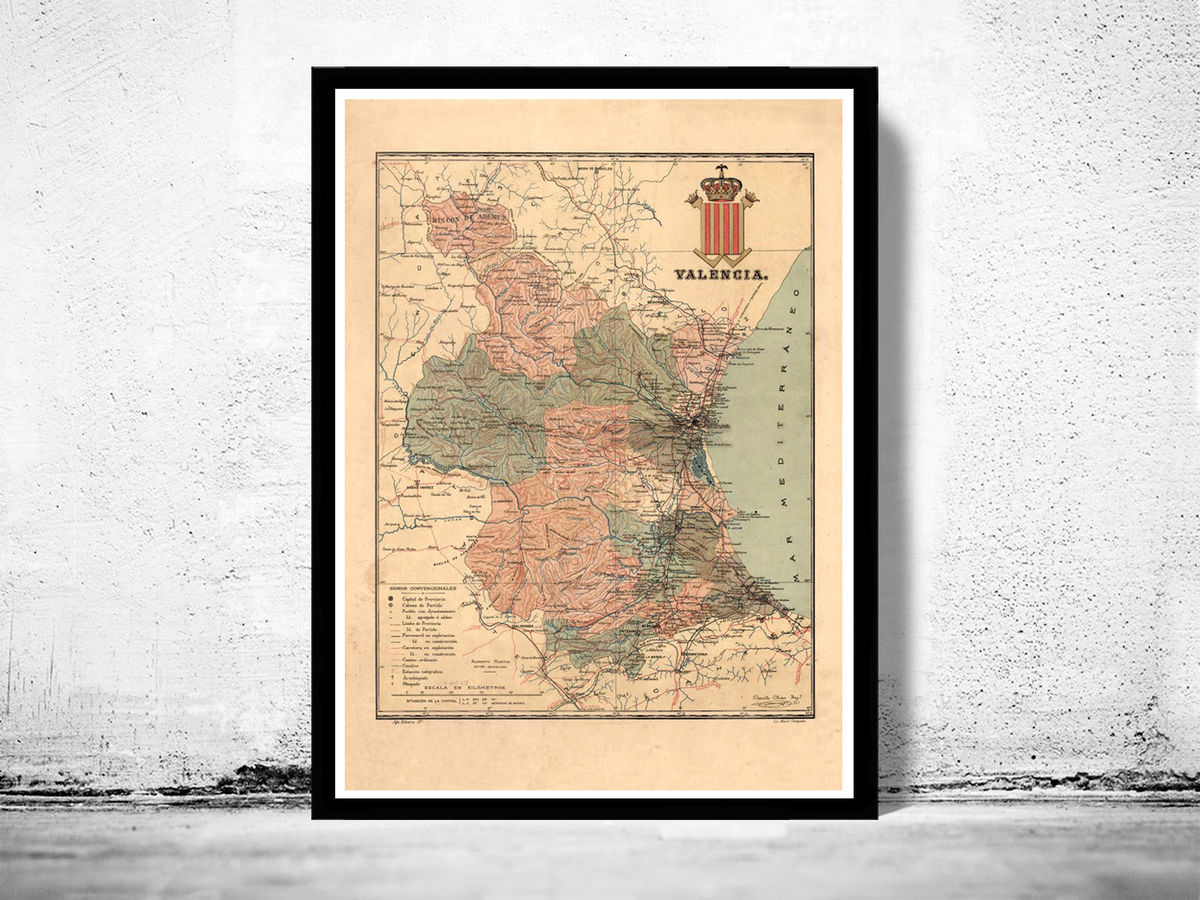 Old Map of Valencia 1900 Spain Vintage Map - product images  of