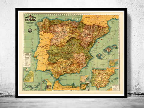 Old,Map,of,Spain,1900,Mapa,España,Art,Reproduction,Open_Edition,Vintage_map,espana,iberia,old_map_spain,spain_map,portugal_map,iberia_map,hispania,spain_vintage_map,vintage_spain,madrid_map, map of spain, spain map, spain poster, madrid, vintage map, antique map