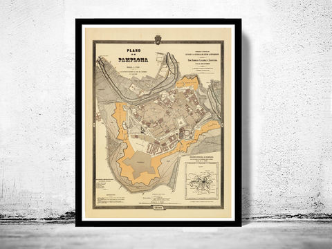 Old,Map,of,Pamplona,Spain,1882,Vintage,pamplona, pamplona, map, gravure, old map, old map of pamplona, pamplona spain