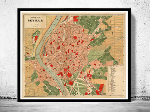 Old,Map,of,Seville,Sevilla,Spain,1904,Vintage,seville, sevilla, map, gravure, old map, old map of sevilla, seville spain
