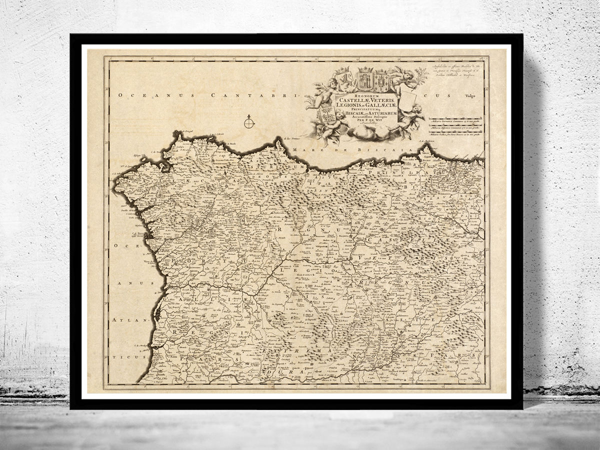 Old Map of Galicia Coruña Corunya 1780 Spain - product images  of
