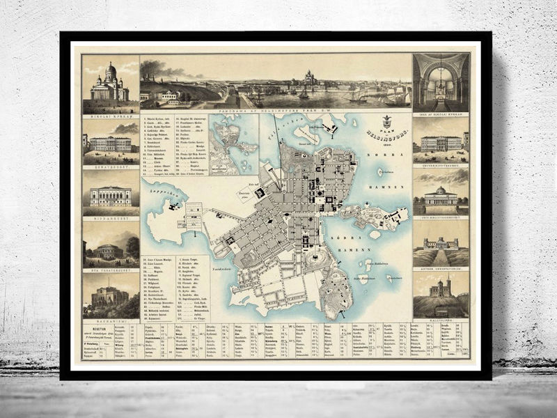 Old map of Helsinki 1860 Helsingfors Finland - product image