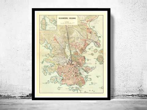 Old,map,of,Helsinki,1897,helsinki, finland, helsinki map, helsinki poster