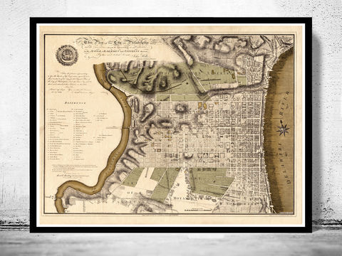 Old,Map,of,Philadelphia,1796,Art,Reproduction,Open_Edition,vintage,plan,illustration,philadelphia,United_States,USA,city_map,city_plan,1777,old_map,vintage_poster