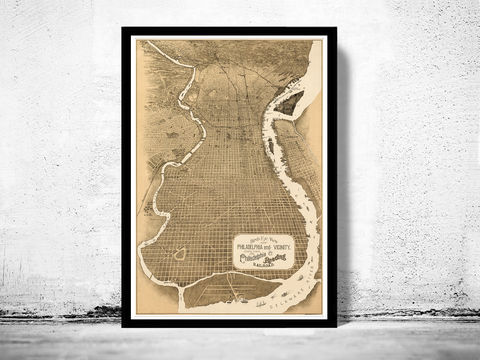 Old,Map,of,Philadelphia,1870,Vintage,Birdseye,View,Art,Reproduction,Open_Edition,vintage,United_States,panoramic_view,gravure,illustration,urban,1886,philadelphia,birdseye,vintage_map,old_map,city_plan,old_gravure