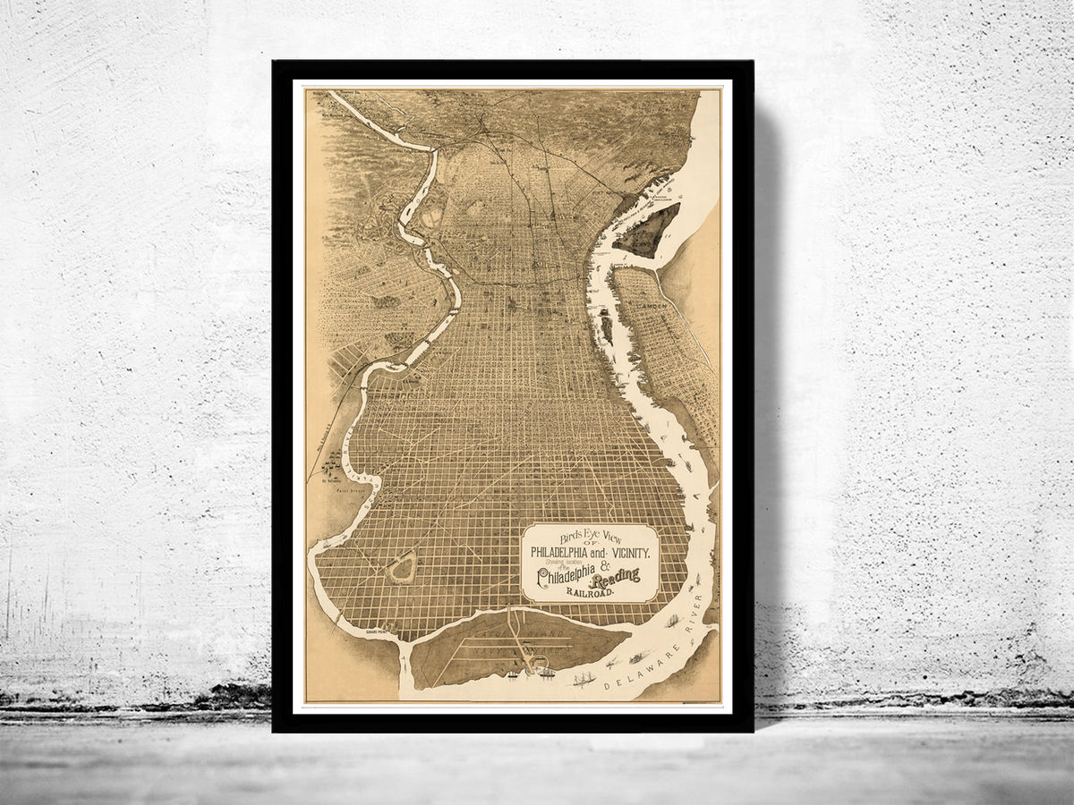 Old Map of Philadelphia 1870 Vintage Birdseye View Map - product images  of