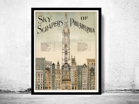 Skyscrapers,of,Philadelphia,Architecture,1898,Art,Reproduction,Open_Edition,vintage,plan,illustration,philadelphia,United_States,USA,city_map,city_plan,old_map,vintage_poster,skyscrapers,architecture,vintage_philadelphia