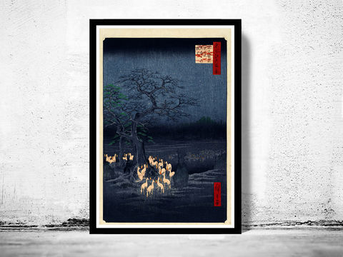 Japanese,Art,,Hiroshige,New,Year's,Eve,foxfires,at,the,changing,tree,,Oji,,1857,Art,Reproduction,Open_Edition,japanese,japanese_art,japa_art,japan_wall_decor,japanese_poster,hiroshige,art_japan,vintage_asia,japan_retro,japan_art