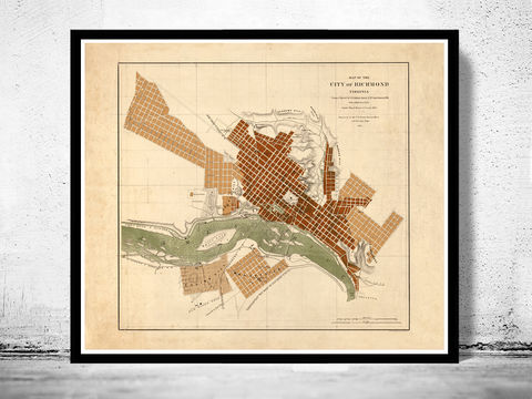Old,Map,of,Richmond,Virginia,1853,Vintage,richmond, richmond map, map of richmond, richmond va, richmond poster, richmond vintage