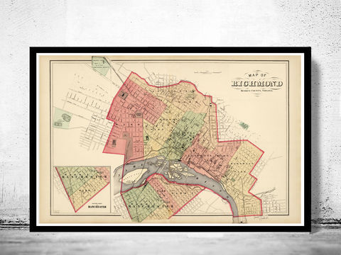 Old,Map,of,Richmond,Virginia,1878,Vintage,richmond, richmond map, map of richmond, richmond va, richmond poster, richmond vintage