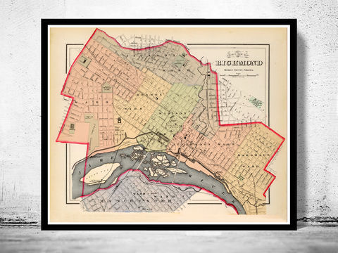 Old,Map,of,Richmond,Virginia,1884,Vintage,richmond, richmond map, map of richmond, richmond va, richmond poster, richmond vintage