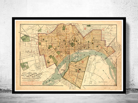 Old,Map,of,Richmond,Virginia,1876,Vintage,richmond, richmond map, map of richmond, richmond va, richmond poster, richmond vintage