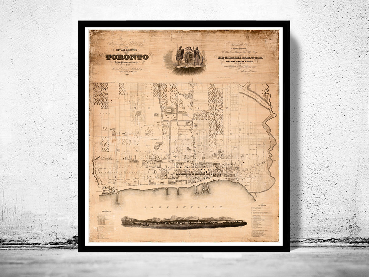 Old Map of Toronto Ontario Canada 1842 Vintage map of Toronto - product images  of