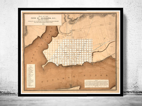 Old,Map,of,Alexandria,Virginia,Columbia,1845,alexandria, virginia, columbia, alexandria virginia, alexandria va, maps for sale, alexandria map