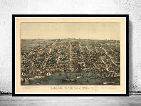 Old,Map,of,Alexandria,Virginia,1863,Vintage,alexandria, virginia, columbia, alexandria virginia