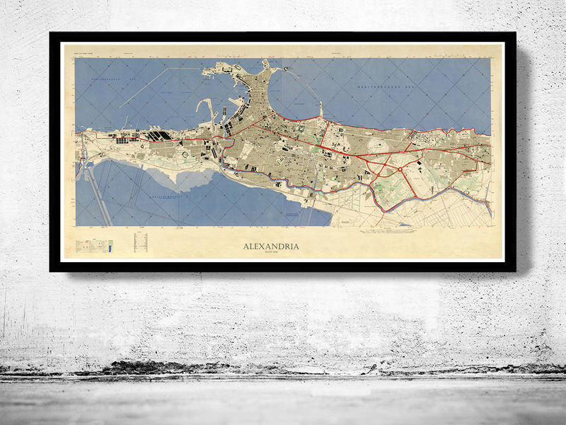 Vintage Map of Alexandria Egypt Old Map - product image