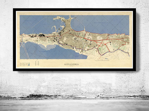 Vintage,Map,of,Alexandria,Egypt,Old,alexandria map, alexandria, alexandria egypt, egypt, egyptian art, egypt poster