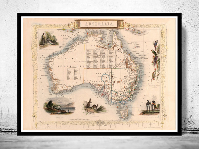 Old Map Australia 1851 Vintage Map - product image