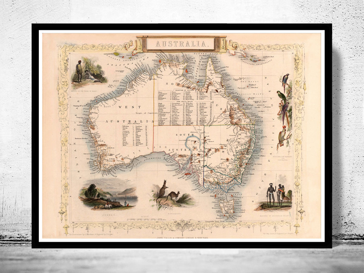 Old Map Australia 1851 Vintage Map - product images  of