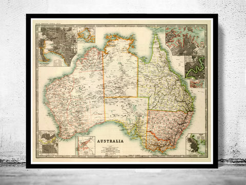 Vintage,Map,Australia,,Melbourne,,Hobart,,Perth,,Sydney,,Adelaide,1911,Art,Reproduction,Open_Edition,vintage,old_map,atlas,illustration,Australia,New_Zealand,oceania,australia_map,new_zealand_map,map_of_australia,oceania_map,australia_vintage,australia_poster