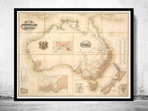 Old,Map,Australia,Oceania,New,Zealand,Antique,1857,Vintage,Art,Reproduction,Open_Edition,vintage,old_map,atlas,illustration,New_Zealand,oceania,australia_map,new_zealand_map,map_of_australia,oceania_map,australia_vintage, map reproductions, maps for sale