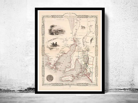Vintage,Map,of,South,Australia,,,Old,map,1851,Art,Reproduction,Open_Edition,old_map,antique_map,historic_map,south_wales_poster,australia_map,oceania,south_australia,south_australia_map,old_south_australia