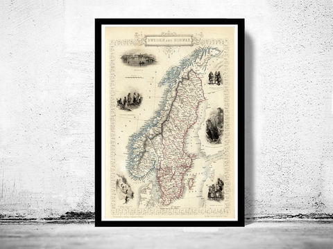 Old,Map,of,Norway,and,Sweden,,1851,,scandinavia,Antique,Baltic,Sea,Art,Reproduction,Open_Edition,norway,sweden,stockholm,oslo,old_map,old_map_of_norway,norway_map,sweden_map,old_norway,vintage_norway,norwegian,sweden_art