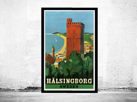 Vintage,Poster,of,Halsingborg,Sweden,1930,-1940,Tourism,poster,travel,Art,Reproduction,Open_Edition,vintage_poster,travel_poster,oldcityprints,sweden_poster,swedish_decor,halsingborg,sweden,swedish,sweden_tourism,sweden_decor,vintage_sweden