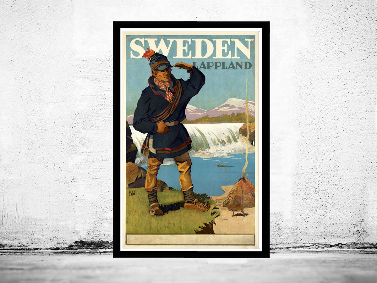 Vintage Poster of Sweden Lapland Tourism poster travel - product images  of