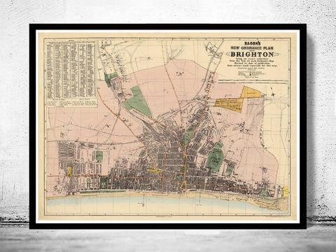 Old,Brighton,Map,1890,,England,United,Kingdom,brighton, brighton map, brighton england, map of brighton, brighton poster