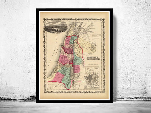 Old,Map,of,Palestine,Jesus,1860,Middle,East,Vintage,Art,Reproduction,Open_Edition,vintage,ancient,old_map,Israel,Middle_East,Religious,Thematic,nazareth,judea,samaria