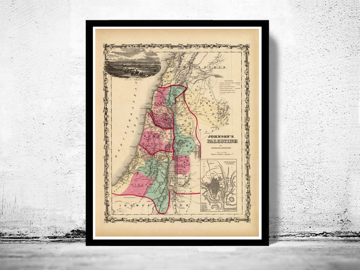 Old Map of Palestine Jesus 1860 Middle East Vintage Map - product images  of