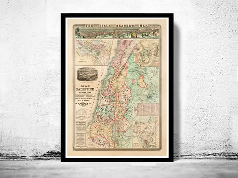 Bible,Readers,Map,Palestine,Jerusalem,,1873,Deeds,of,Jesus, old map  , Israel  , Palestine  , Jesus  , Religious , nazareth  , judea  , samaria  , bible , palestine map  , map of palestine  , apostle paul , holy city