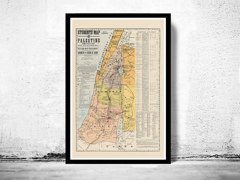 Old,Map,of,Israel,Palestine,Jesus,,1905,,Middle,East,,Religious,,Thematic,Art,Reproduction,Open_Edition,vintage,ancient,old_map,Jesus,Middle_East,Religious,nazareth,judea,samaria