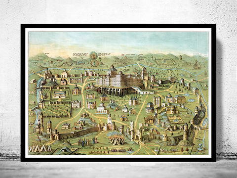 Old,Map,of,Jerusalem,Holy,Land,Palestine,engraving,1871,Art,Reproduction,Open_Edition,vintage,vintage_map,illustration,city_plan,old_map,holy_land,Religious,solomon_temple,jerusalem_gift,jerusalem_poster