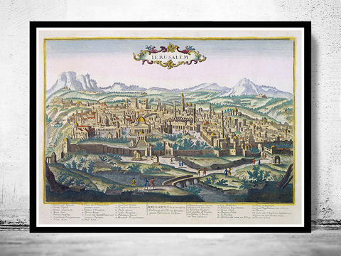 Jerusalem,Palestine,old,engraving,illustration,,,Israel,Holy,Land,1750,Art,Reproduction,Open_Edition,vintage,wall_decor,retro,old_gravure,holy_land,jerusalem,palestine,israel,medieval
