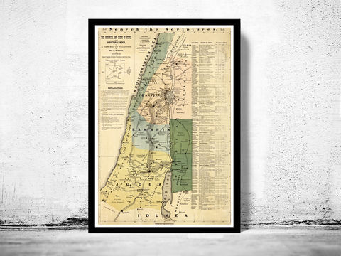 Old,Map,of,Israel,Palestine,Jesus,,1881,,Middle,East,,Religious,,Thematic,israel , jerusalem , holy land , religious, poster