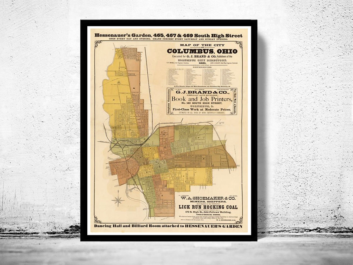 Old Map of Columbus Ohio,  1881 - product images  of