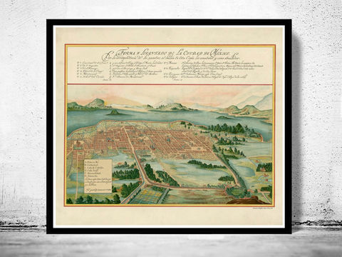 Old,Map,of,Mexico,City,,1628,mexico city, mexico map, mexico poster, mexican decor, mexico city print, old map of mexico, mexico city old map, antique maps