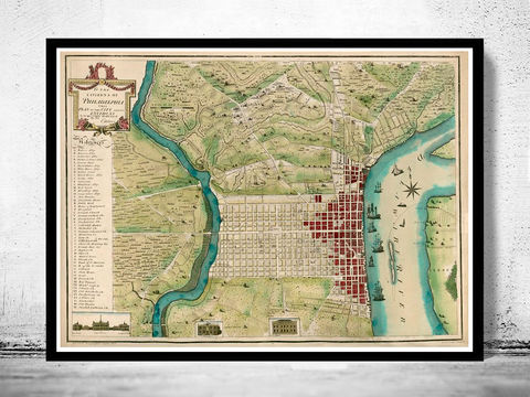 Old,Map,of,Philadelphia,1700,Art,Reproduction,Open_Edition,vintage,plan,illustration,philadelphia,United_States,USA,city_map,city_plan,1777,old_map,vintage_poster