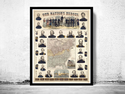 Vintage,Civil,War,Poster,USA,Our,Nation,Heroes,1863,Art,Reproduction,Open_Edition,antique,United_States,Ornamental,Mexico,North_America,vintage_map,civil_war,poster,united_states_heroes,united_states_map,US_map,USA_poster