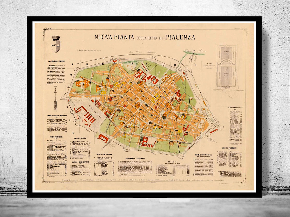 Old Map of Piacenza 1882 Antique Vintage Italy - product images  of