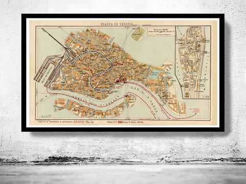 Vintage,Old,Map,of,Venice,Venetia,Venezia,,,Italy,1928,Art,Reproduction,Open_Edition,plan,venice,1886,old_map,italia,Veneza,city_plan,vintage_map,map_of_venice,venice_poster,venice_map