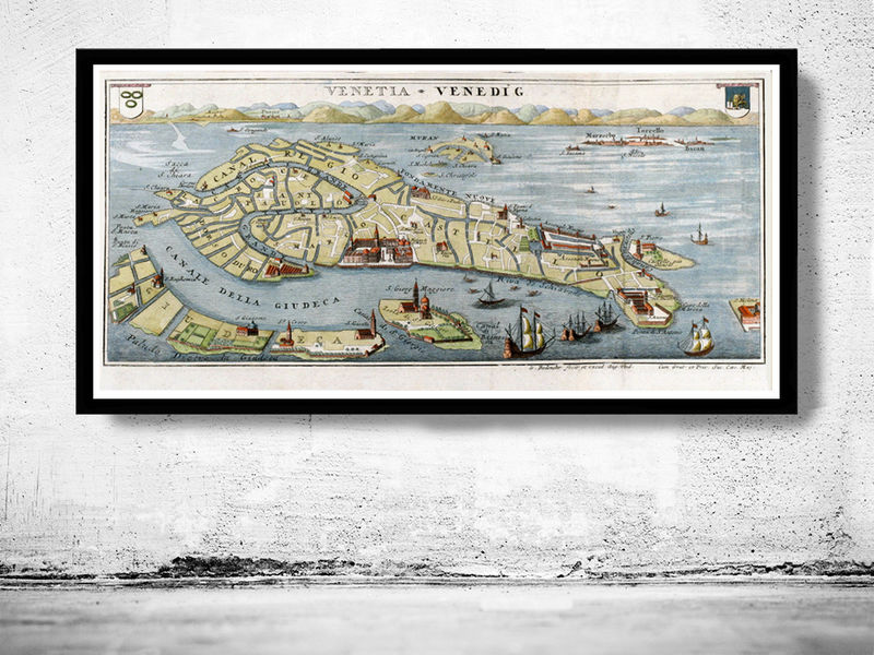 Vintage Old Map of Venice Venetia Venezia , Italy 1720 - product image