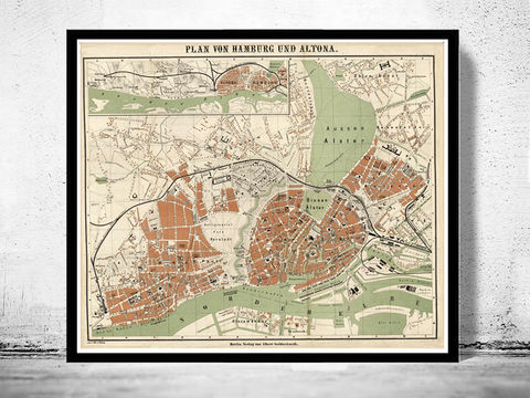 Old,Map,of,Hamburg,and,Altona,Germany,1880,Vintage,hamburg, altona, hamburg map, hamburg poster, map of hamburg, hamburg plan, antique map,,antique, map