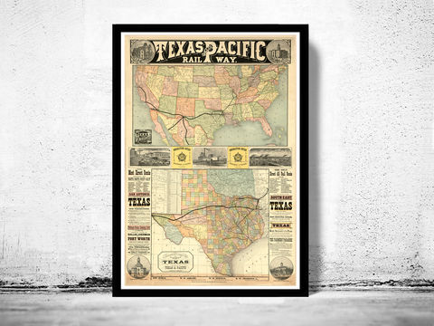 Old,Map,Texas,Pacific,Railway,1876,United,States,of,America,texas, texas map, texas poster, map of texas, pacific railway, texas decor, wall decor
